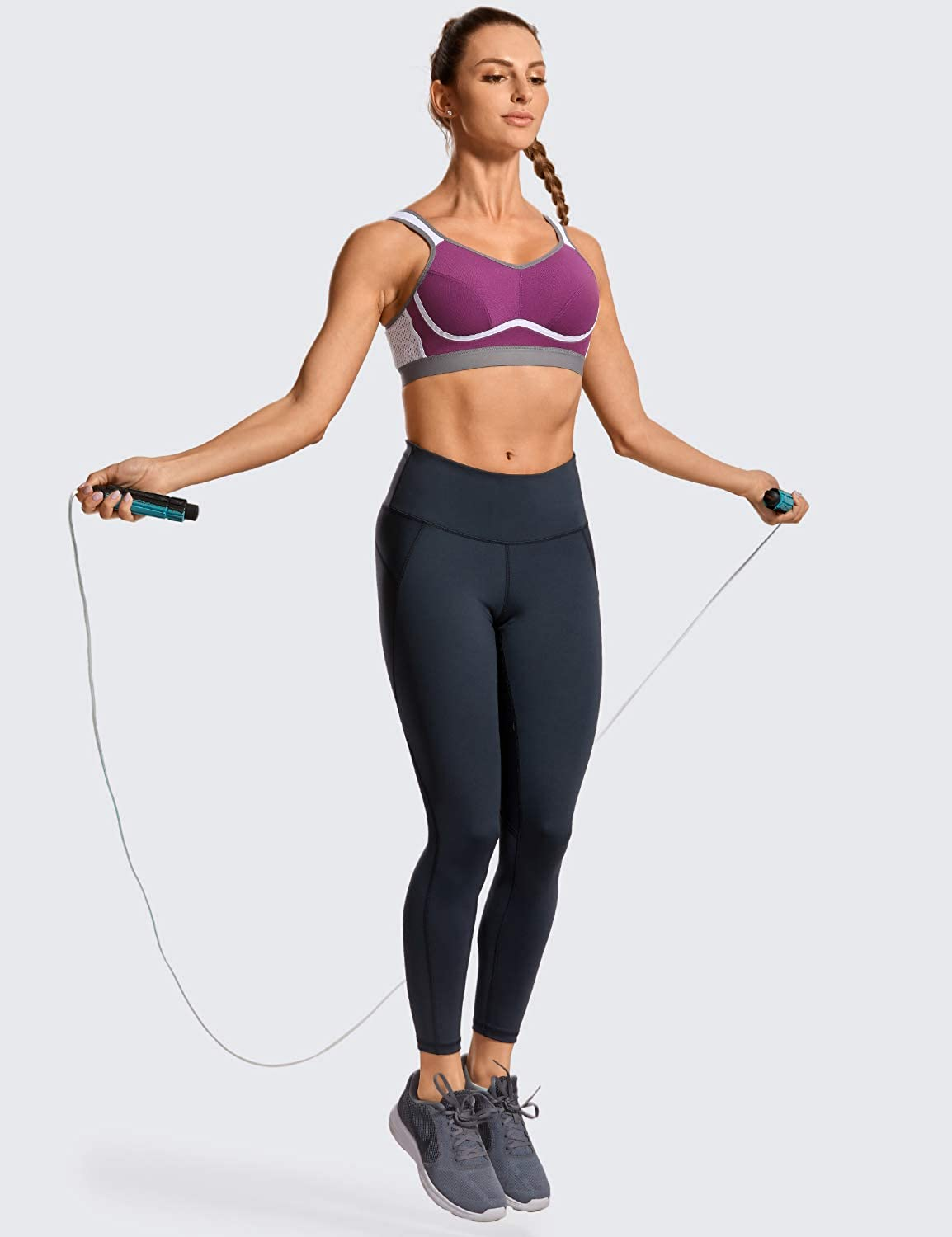 SYROKAN Women's High Impact Support Wirefree Bounce Control Plus Size Workout Sports Bra at  Women's Clothing store