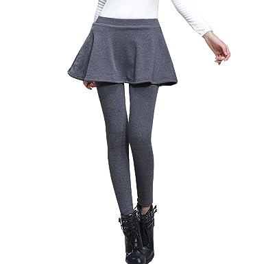 a9b85c522 AOMEI Women Winter Fleece Warm Skirt Leggings Gray Color Size XL at ...