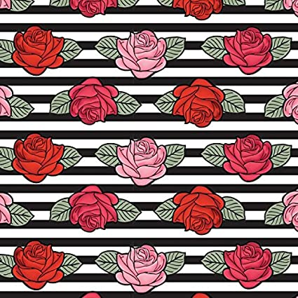 Amazoncom Pink Red Roses Black White Stripes Cotton Fabric By