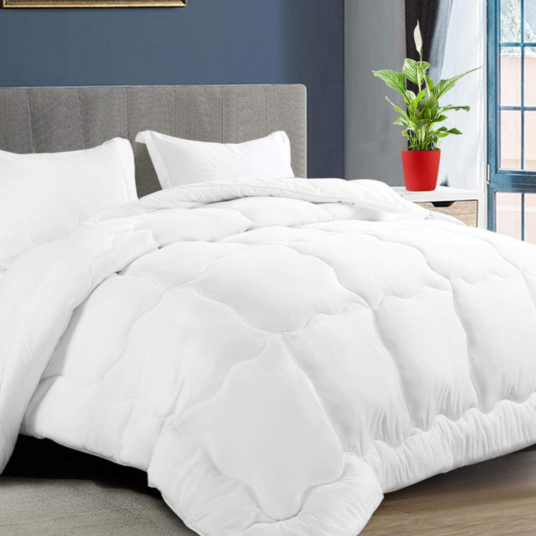 KARRISM All Season Down Alternative Queen Comforter, Summer Cooling Comforter Ultra Soft Quilted Duvet Insert with Corner Tabs, Wavy Box Stitched, Luxury Fluffy Lightweight (White, 88 x 88 inch)