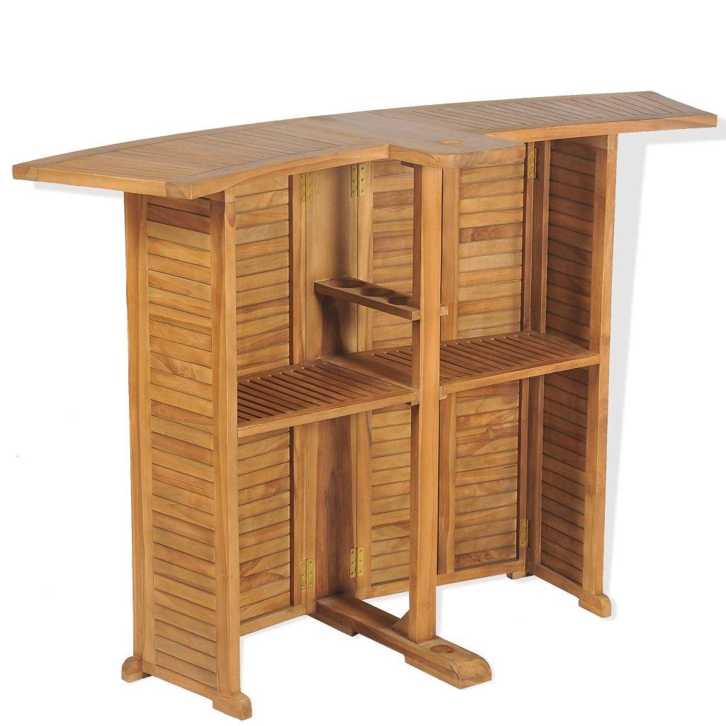 vidaXL Teak Outdoor Bar Table 155x53x105cm Foldable Garden Patio Furniture
