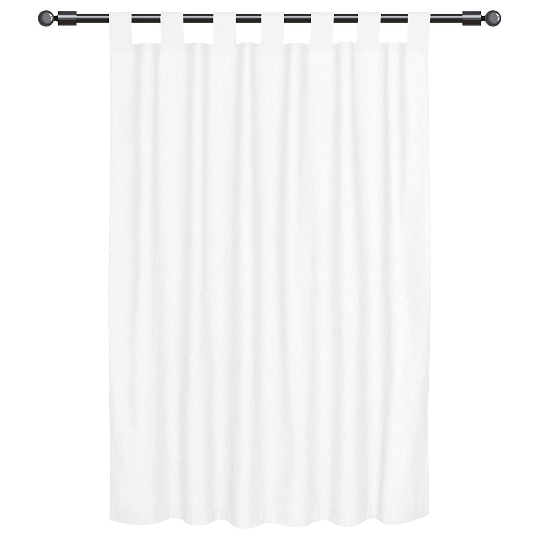 Sugarapple Dekoschal, Gardine, Vorhang mit Schlaufen aus 100% Baumwolle. 2 Schals, Breite je 143 cm, Länge 200 cm, Uni Weiß