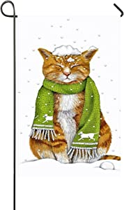 """Small Mim Orange Cat With Green Scarf Squint Eyes In The Snowing Day Garden Flag Holiday Decoration Double Sided Flag 12.5"""" x 18"""""""