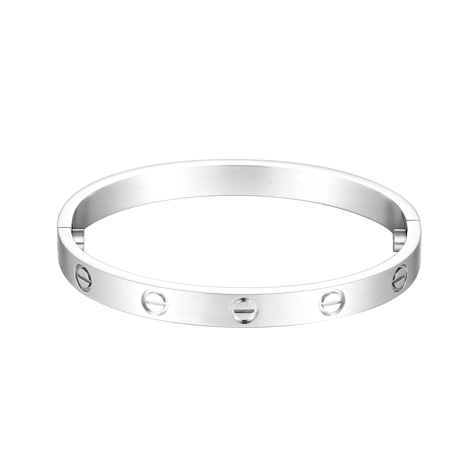 Z.RACLE Love Bangle Bracelet Stainless Steel with Screw - Best Gift for Love - 6.3IN White Gold by Z.RACLE (Image #2)