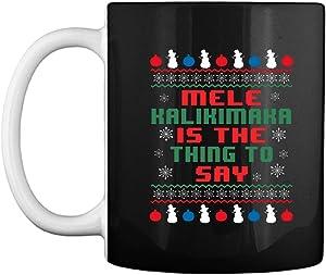 Funny Mele Kalikimaka Hawaiian Ugly Christmas Sweater Black 15oz Coffee Mug