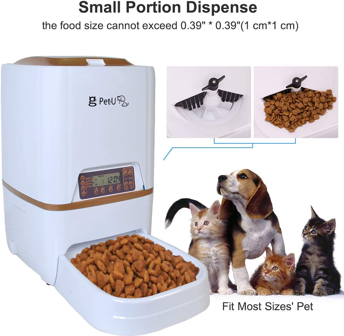 DREAMDREAM Programmable 6L Automatic Pet Feeders with Voice Message Recording and LCD Screen Smart Dogs Cats Food Auto Dispenser Bowl White