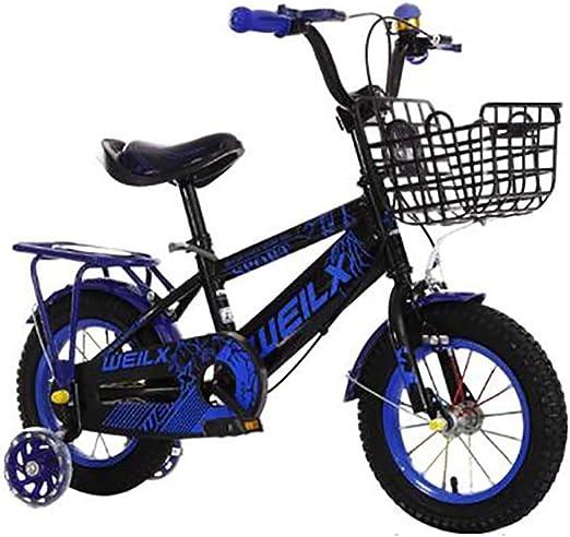 GAIQIN Durable Bicicleta para niños 3-5-7-8 años de Edad, niños y niñas, Frenos de Mano, Control de Seguridad para Exteriores (con Cesta y Asiento Trasero) (Color : Azul, Tamaño : 12inch): Amazon.es: Hogar