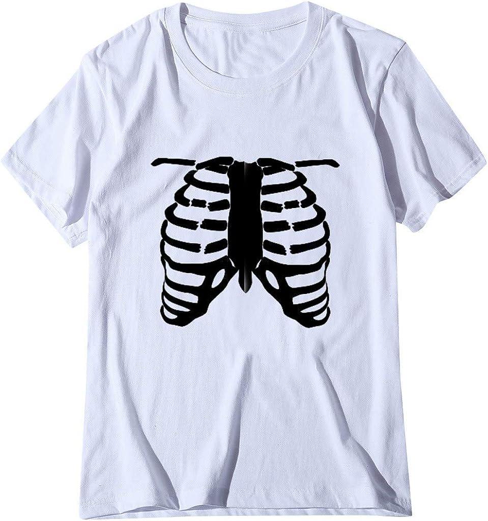 Meikosks Womens Rib Print T Shirt Short Sleeve Round Neck Tops Casual Blouses Basic Pullover