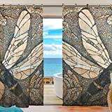 Cheap INGBAGS Bedroom Decor Living Room Decorations Retor Dragonfly Pattern Pattern Print Tulle Polyester Door Window Gauze / Sheer Curtain Drape Two Panels Set 55×78 inch ,Set of 2