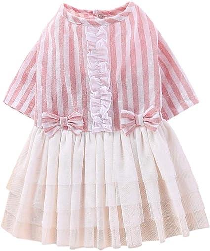 NEW Girls Summer Dress Size XS 4-5 Polka Dot Cat A-Line Pink Blue Cute Spring