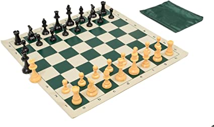 European Chess set Combo including a plastic board and a matching chess clock