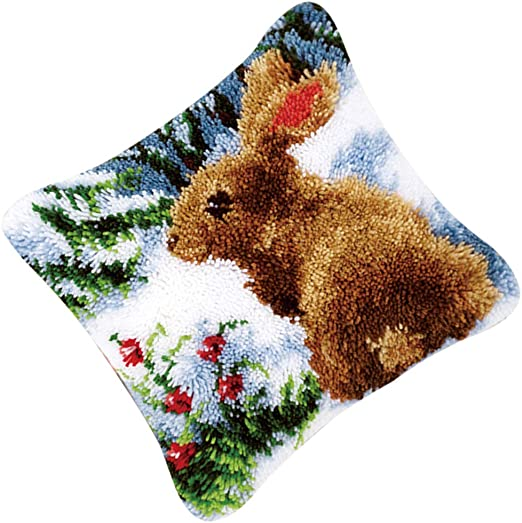 Rabbit DIY Throw Pillow Cover Sofa Cushion Cover 16X16 inch Animal Pattern Paint Cross Stitch Squirrel Gift2U Latch Hook Kit