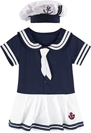 MOMBEBE COSLAND Girls Sailor Outfits with Hat