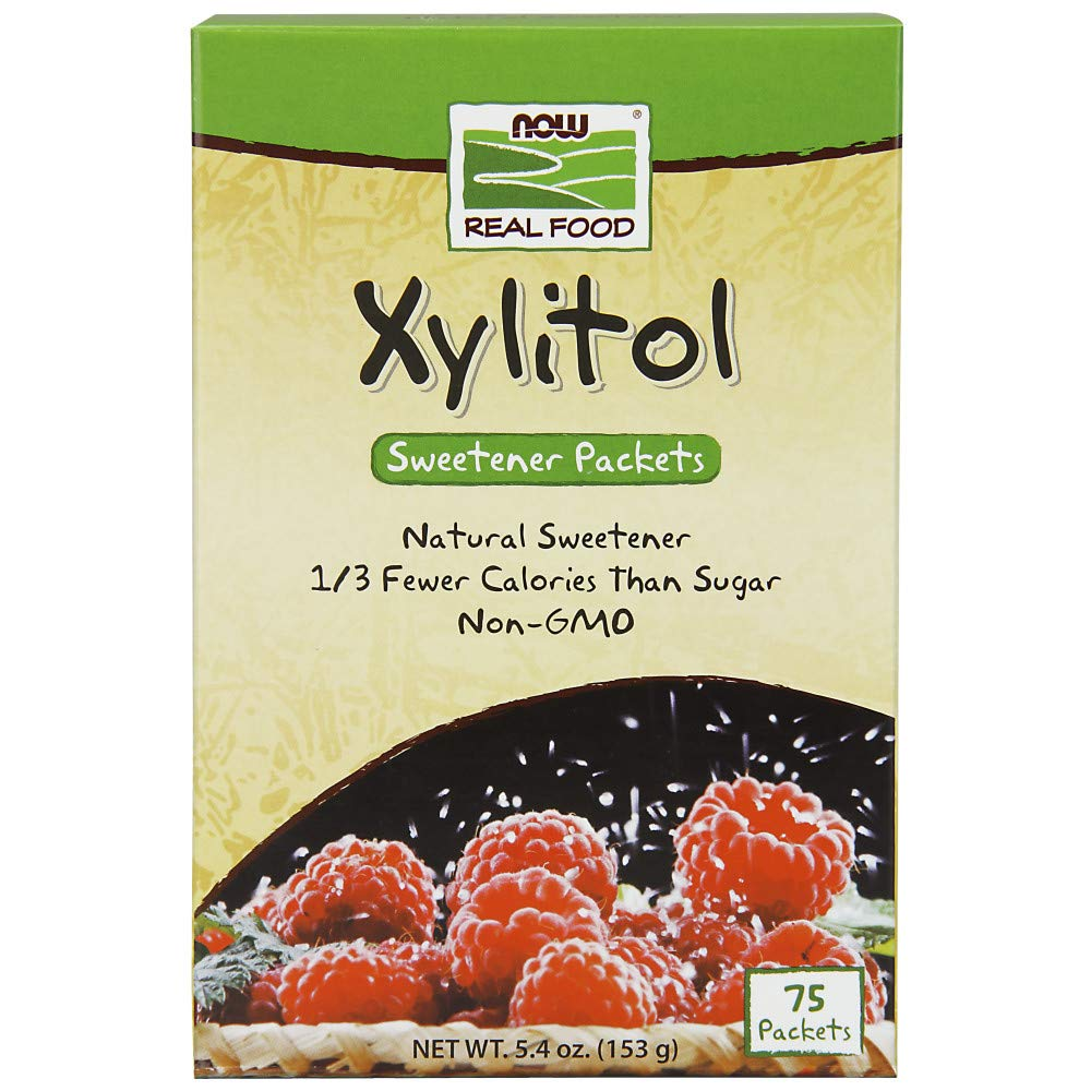 NOW Foods, Xylitol Sweetner Packets, 1/3 Fewer Calories than Sugar, Non-GMO, 75 Packets
