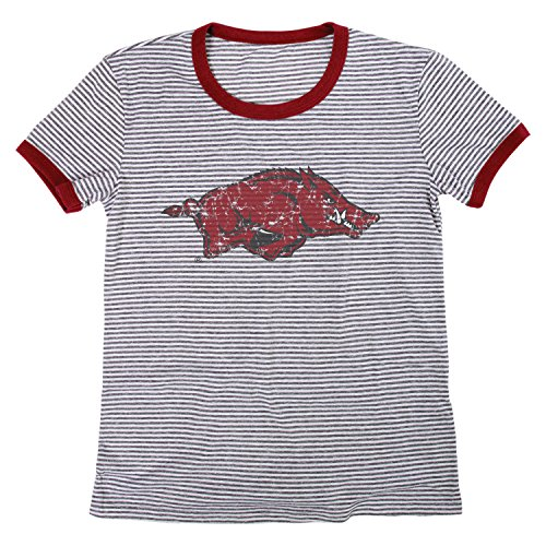 - Blue 84 NCAA Arkansas Razorbacks Women's Tri-Blend Retro Stripe Ringer Shirt, X-Large, Cardinal