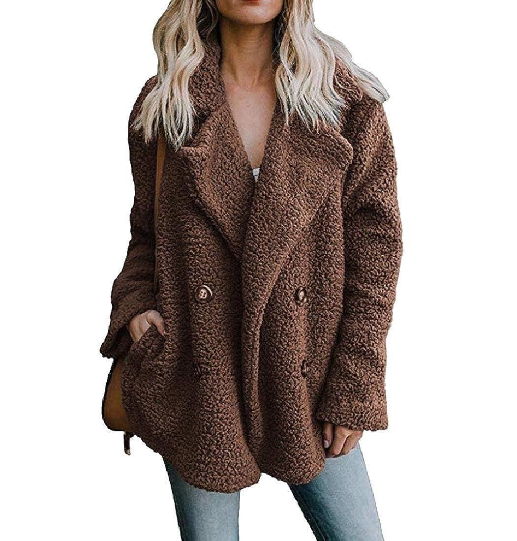 YUNY Women Cardigans Peacoats Faux Fleece Fashion Coat Outwear S
