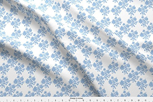 Spoonflower Blue Fabric Swedish Rose Trellis In Blueberry Blue by Lilyoake Printed on Sport Lycra Fabric by the Yard
