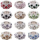 Pandahall 100PCS Mixed Color Alloy Rhinestone Large Hole European Beads, Platinum- 11x6mm, Hole: 5mm