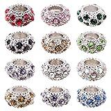 PH PandaHall 100PCS Mixed Color Alloy Rhinestone Large Hole European Beads, Platinum- 11x6mm, Hole: 5mm