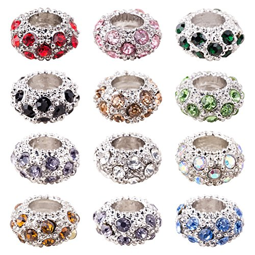 Art Glass Focal Bead - PH PandaHall 100PCS Mixed Color Alloy Rhinestone Large Hole European Beads, Platinum- 11x6mm, Hole: 5mm