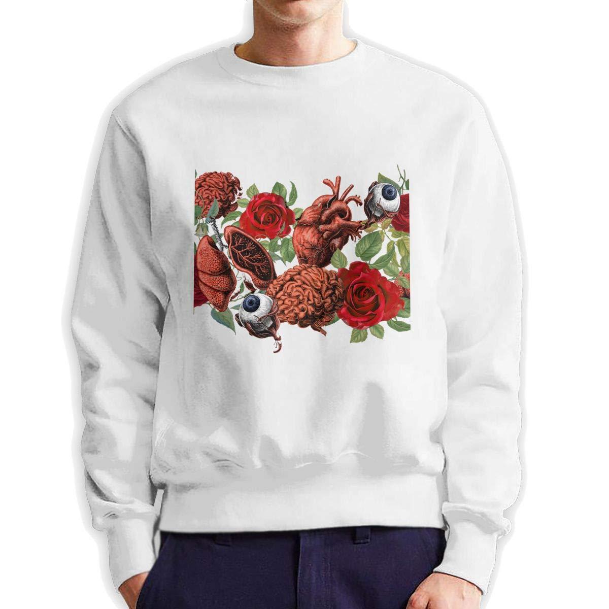 RUANJB Mens Flower and Eye Long Sleeve Crewneck Sweatshirt