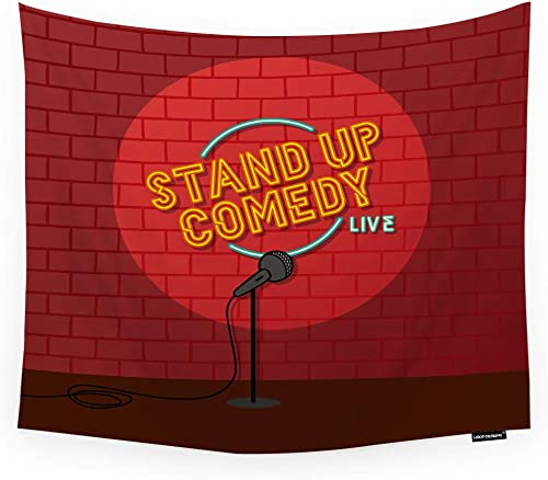 HGOD DESIGNS Comedy Tapestry Wall Hanging Abstract Stand Up Comedy Open Mic with Red Brick Room Decorative Wall Tapestry for Men Women Girl Boy Polyester 60 X90