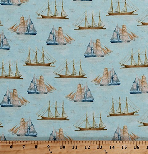 Cotton Vintage Tall Ships Water Sailing Sailors Antique Brigantine Clipper Schooner Sailboats Nautical Maritime Ocean Sea Travel Transportation Cotton Fabric Print by the Yard (42268-2) from Field's Fabrics