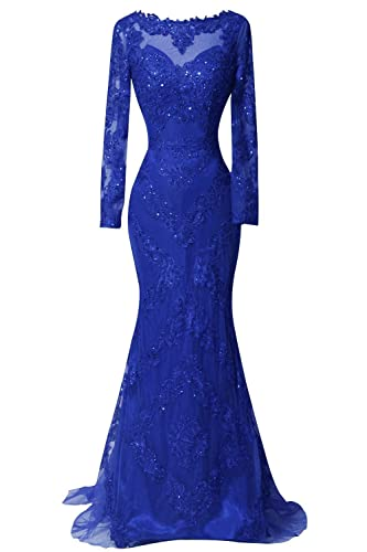 ORIENT BRIDE Scoop Beaded Appliques Formal Evening Dresses with Long Sleeves