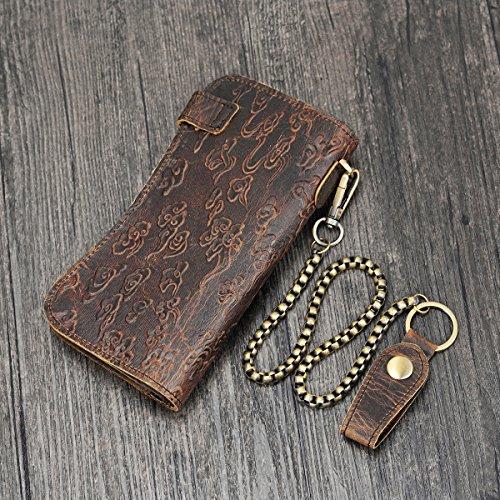 Portefeuille chain To Vintage 2 Fermeture Véritable En Long Cuir Husband Wallet Style Bifold Avec Glissière Pour Poche Checkbook Hommes Purse À qprSqwZfx