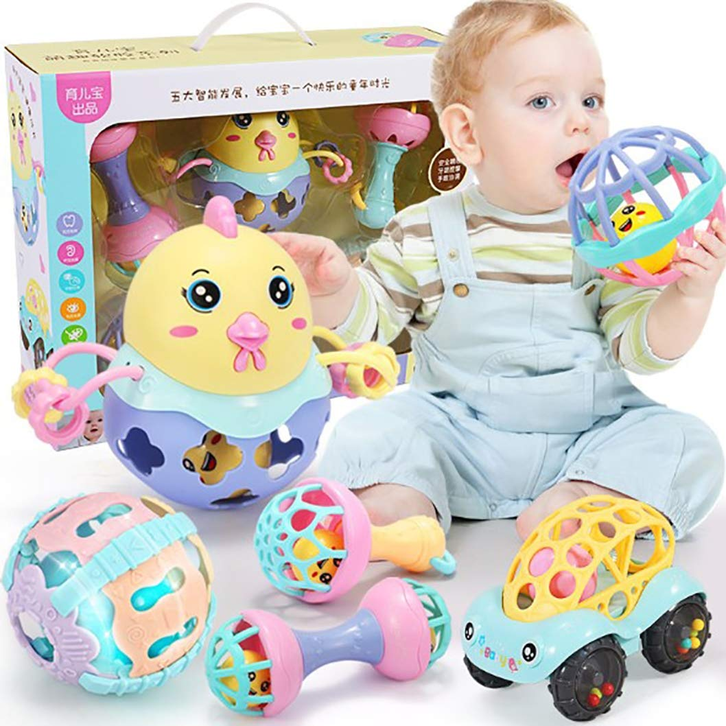 Baby Rattle Teether Toys Set Baby's First Rattles Baby's First Toys Gift Set for Baby Infant Newborn 6 PCS 3-6-9-12 Months Educational Toys Baby Hand Catch Ball boy Girl