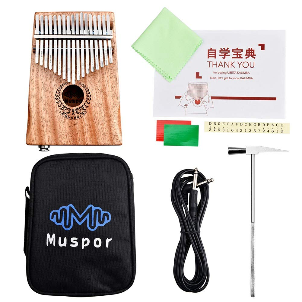 QuTess 17-Key EQ Kalimba Mahogany Electric Finger Thumb Pianoelectric kalimba Built-in Pickup With 6.35mm Audio Interface and Professional Kalimba Bag