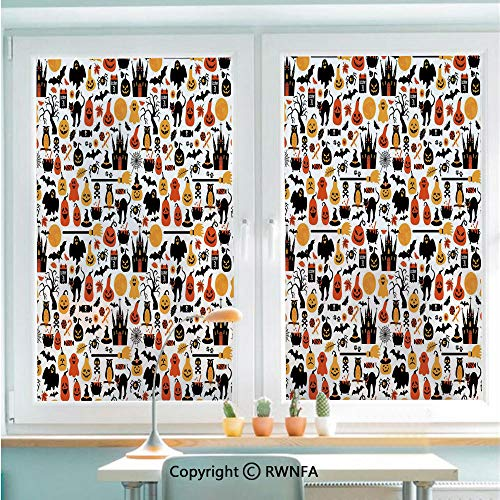 Window Film No Glue Glass Sticker Halloween Icons Collection Candies Owls Castles Ghosts October 31 Theme Decorative Static Cling Privacy Decor for Kitchen Bathroom 22.8x35.4inches,Orange Yellow Blac ()
