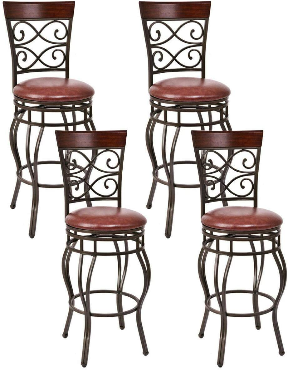 COSTWAY Bar Stools Set of 4, 360 Degree Swivel, 30 Seat Height Bar stools, with Leather Padded Seat Bistro Dining Kitchen Pub Metal Vintage Chairs Set of 4