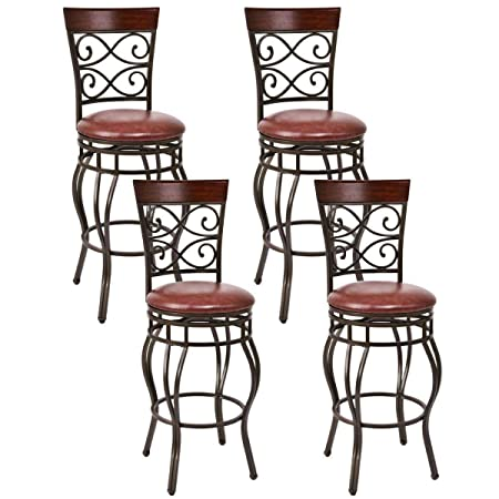 COSTWAY Bar Stools Set of 4, 360 Degree Swivel, 29.5 Seat Height Bar stools, with Leather Padded Seat Bistro Dining Kitchen Pub Metal Vintage Chairs Set of 4