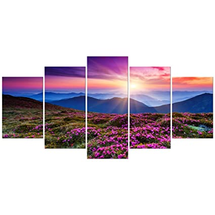 Wieco Art Mountains In Sunrise Extra Large 5 Panels Modern Gallery Wrapped Giclee Canvas Prints Artwork Purple Landscape Pictures Paintings On Canvas