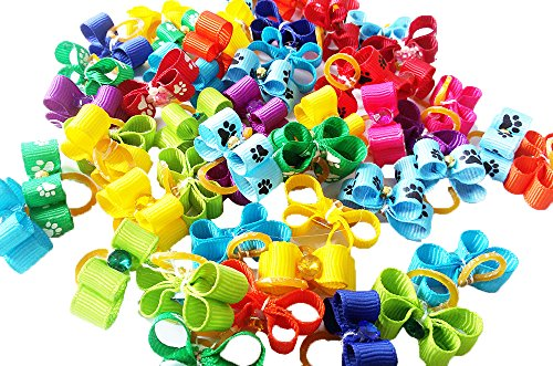 (PET SHOW 10X25mm Tiny Small Dogs Hair Bows With Rubber Bands Ribbon Rhinestone Dog Puppy Grooming Topknot Hair Accessories Assorted Color Pack of 20)