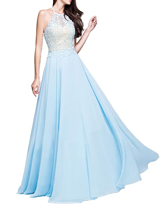 3c8100bd0 BONBETE A-Line Princess Scoop Neck Floor-Length Chiffon Prom Dress With  Appliques Lace at Amazon Women's Clothing store: