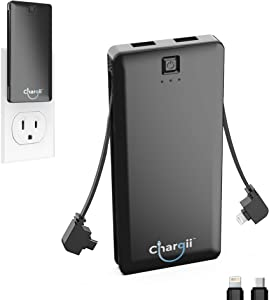 Chargii Portable Charger Built in Apple Cable with Wall Plug AC Adapter USB-C + 2 USB Ports - Compact External Powerbank Lightweight Cell Phone Compatible with Android/iPhone Battery Charger - Black