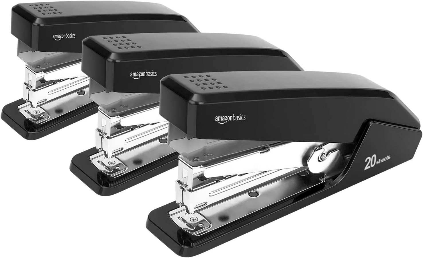 AmazonBasics Reduced Effort Desktop Stapler, Full-Strip, 20 Sheet Capacity - Black, 3 pack