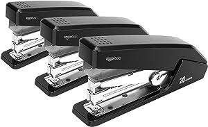 AmazonBasics Reduced Effort Desktop Stapler, Full-Strip, 20 Sheet Capacity - Black, 3 pack