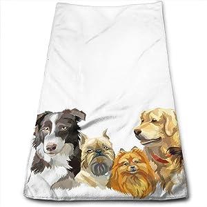 Adorable Puppy Golden Retriever Hand Towels Bathroom Soft Portraits of Different Dog Bath Towel Absorbent Kitchen Dish Towel Home Decor 27.5'' X 12''