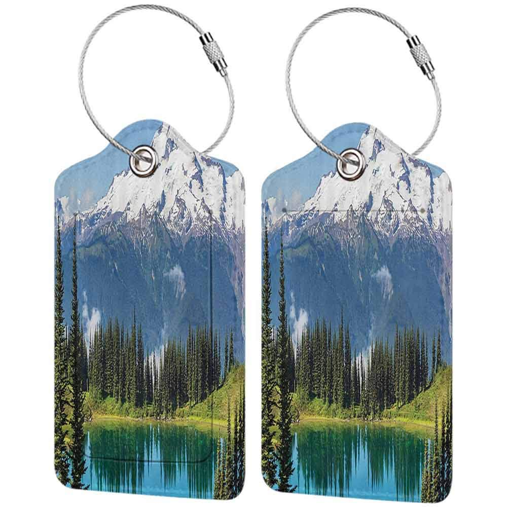 Multi-patterned luggage tag Cottage Decor Collection Scenery of Image Lake and Snowy Glacier Peak in Washington USA with Tall Pine Tree Forest Double-sided printing White Blue Green W2.7 x L4.6
