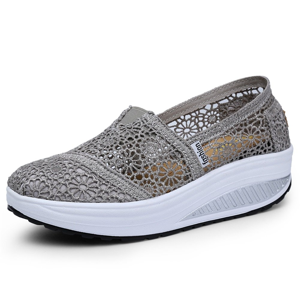Respirant Lace Shake Chaussures Femmes Chaussures 2018 Printemps Et Été Femme Net Chaussures Femme Bouche Peu Profonde Chaussures Casual (Color : A, Taille : 40)