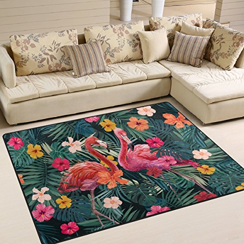 ZOEO Non Slip Area Rugs Floral Pink Flamingo Palm Tree Sofa Mat Living Room Bedroom Carpets Doormats Home Decor 4x5