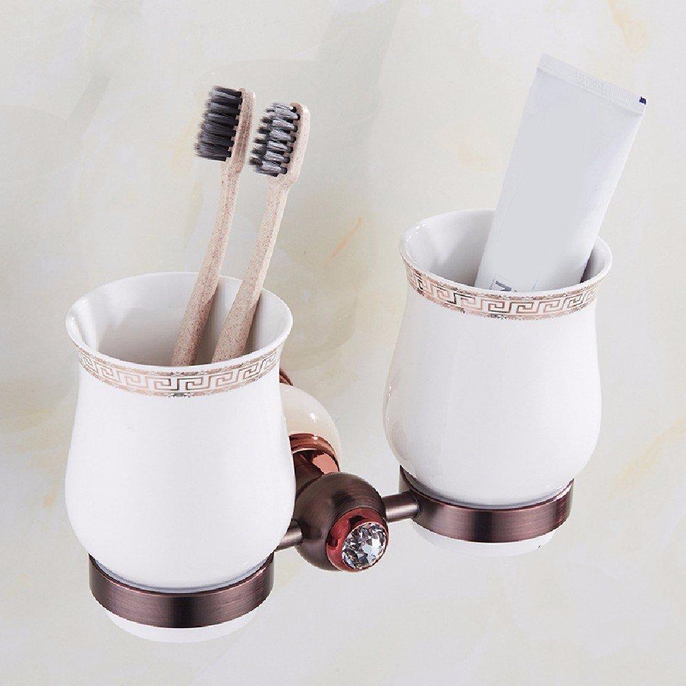 WAWZJ Natural todo el cobre en oro rosa cepillo de dientes titular europeo,Un: Amazon.es: Hogar