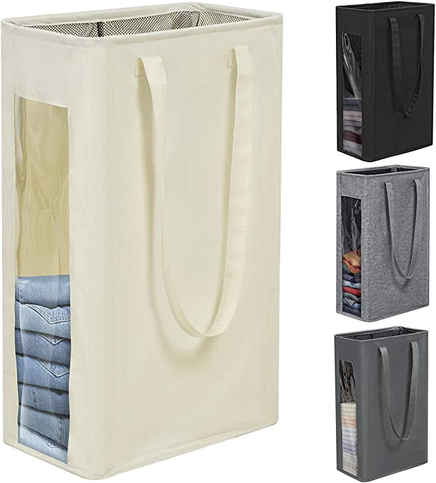 Chrislley 66L Small Laundry Basket Tall Laundry Hamper Narrow Laundry Hamper Visual Window Dirty Clothes Hamper with Handles Small Hampers for Laundry(Beige)