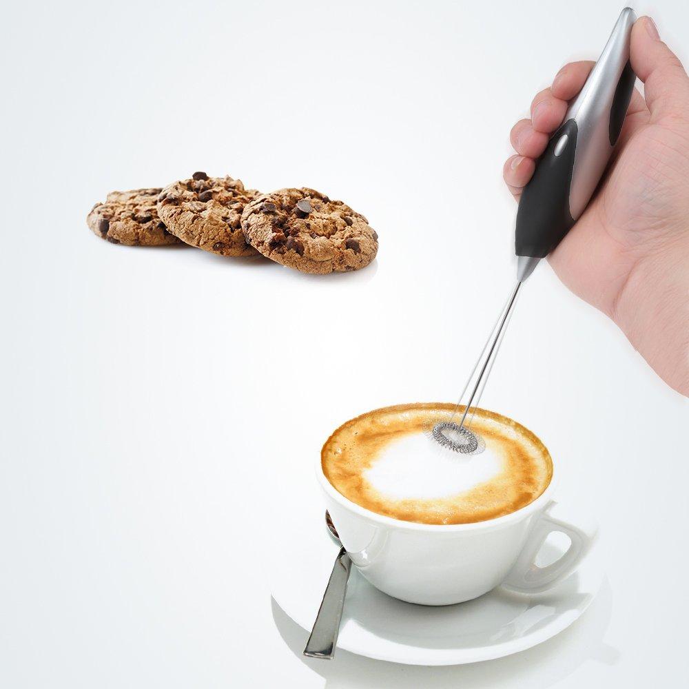 W&Z Leche espumadora de Mano Fabricante de Espuma eléctrica con Pilas Batidor Mezclador de Bebidas para café Capuchino Latte Huevo Azul: Amazon.es: Hogar