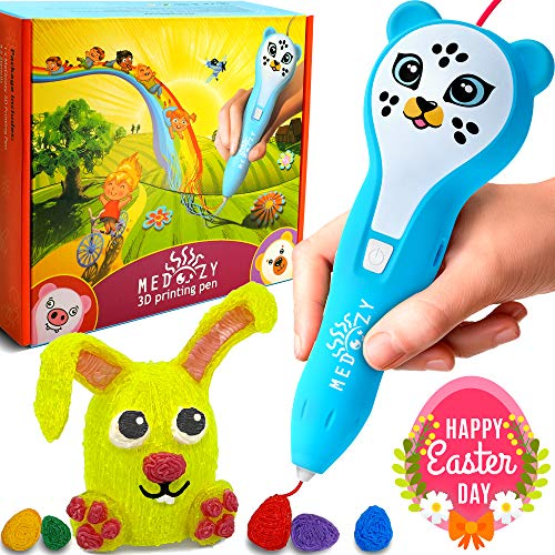 MeDoozy 3D Printing Pen - Ideal present for boys and girls - Safe for kids and teens - Cool arts and crafts kit - Top rated Stem boy toys - Best 3D Pen set - Educational learning children toy (Blue) -