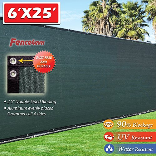 Six Fences (Fence4ever 6'x25' 3rd Gen Dark Green Fence Privacy Screen Windscreen Shade Cover Mesh Fabric (Aluminum Grommets) Home, Court, or Construction)