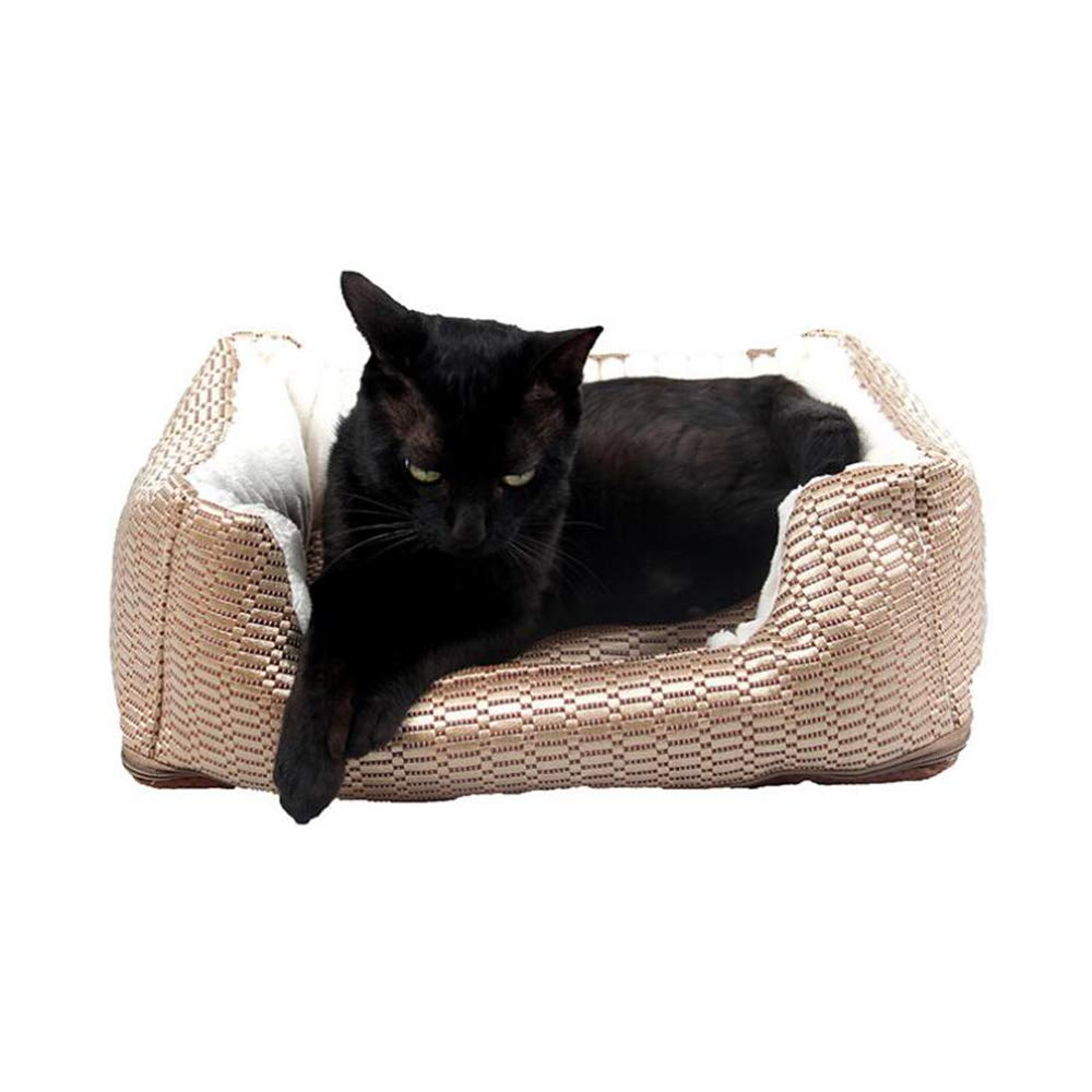 Brown L Brown L YAMEIJIA Kennel cat litter dog bed four seasons universal cat dog pad removable and washable pet supplies